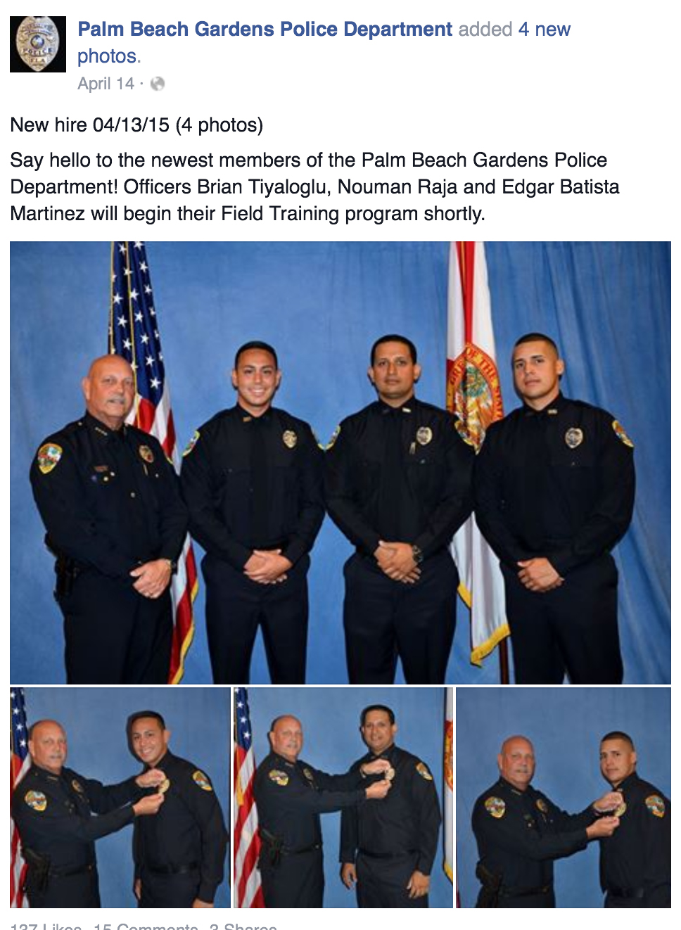 Palm Beach Gardens Police Remove Facebook Posts On Officer