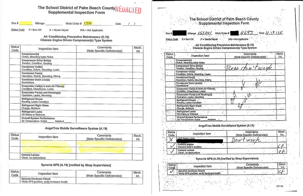 Palm Beach County School bus maintenance records