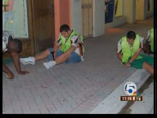 Atlantic high footballers lend hand downtown