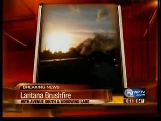 Large Brush Fire in Lantana