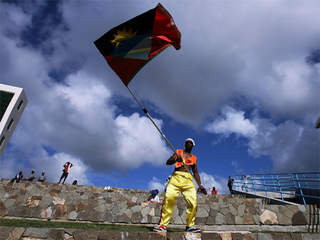 WPTV Antigua and Barbuda flag waving