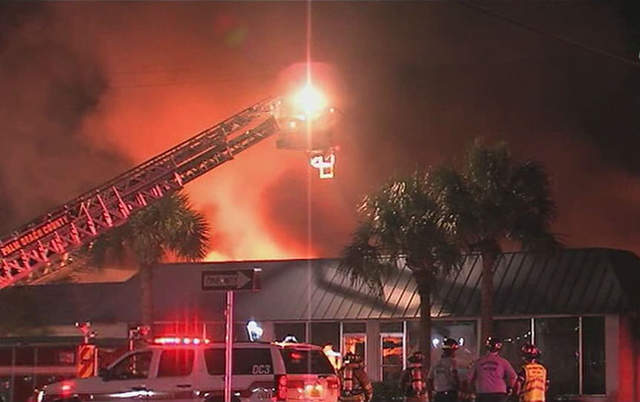 Sunniland Patio Furniture Fire smoldering roof collapses wptv