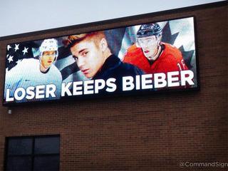 Bieber billboard pops up before US, Canada game