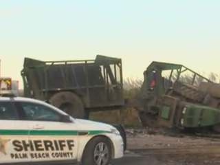 Car crushed by semi in Belle Glade