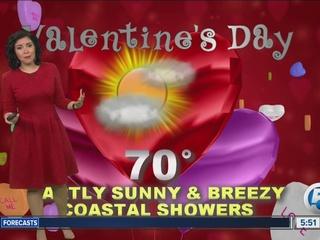 Breezy with a few coastal showers