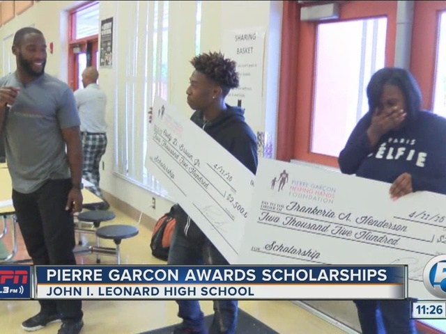Pierre Garcon awards scholarships at former high school