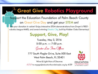 Join the Great Give Robotics Playground on May 3