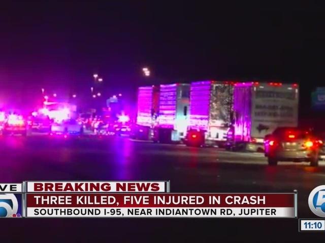 Rollover crash kills multiple people on I-95 in Jupiter