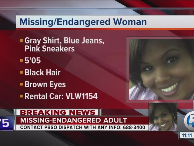 Woman missing after flying into PBIA Friday night