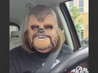 Woman laughs hysterically over Chewbacca mask