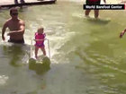 Watch: Florida 6-month-old skis across lake