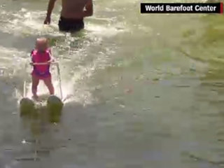 6-month-old skis across Florida lake