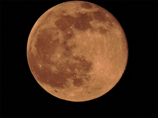 Photos of the 'strawberry' moon