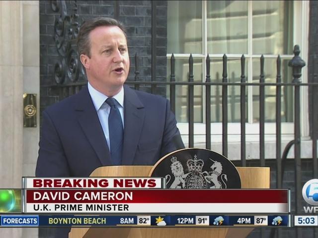 UK votes to leave EU; David Cameron resigning as prime minister