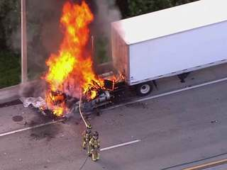Fire engulfs semi on I-95 NB near Lake Worth