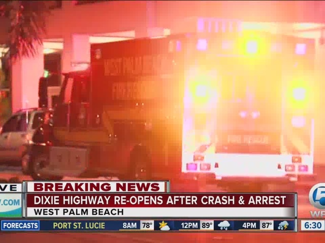 Roads back open after carjacking, chase & crash in downtown West Palm