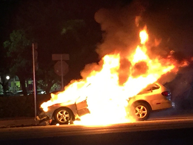 Man hurt in car crash and fire in Stuart