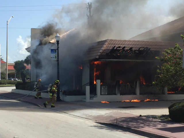 Firefighters battle store fire in Stuart