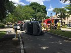 Vehicle flips, driver stuck inside rescued