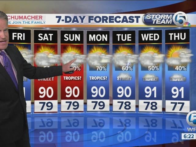 Latest Weather Forecast 6 p.m.