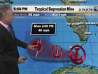 New tropical depression just south of Florida