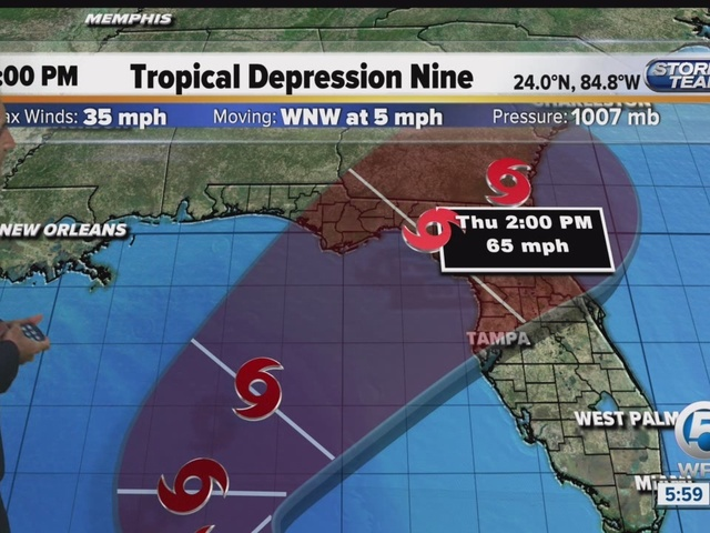 Depression could become tropical storm by Tues.