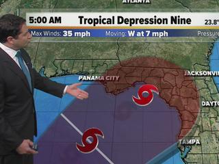 Tropical depression pumping moisture into Fla.
