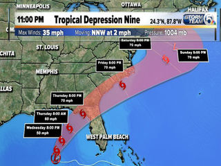 Tropical depression expected to strengthen