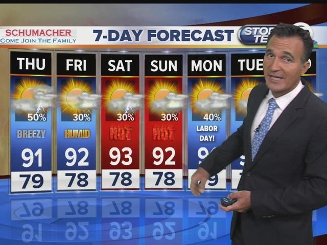 Latest weather forecast 6 p.m. Wednesday