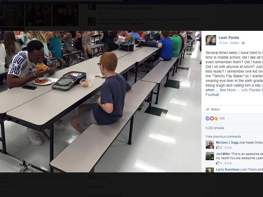 Florida State WR Travis Rudolph eats lunch with boy with autism