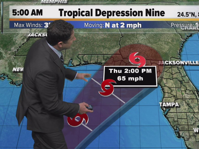 Tropical depression begins moving north