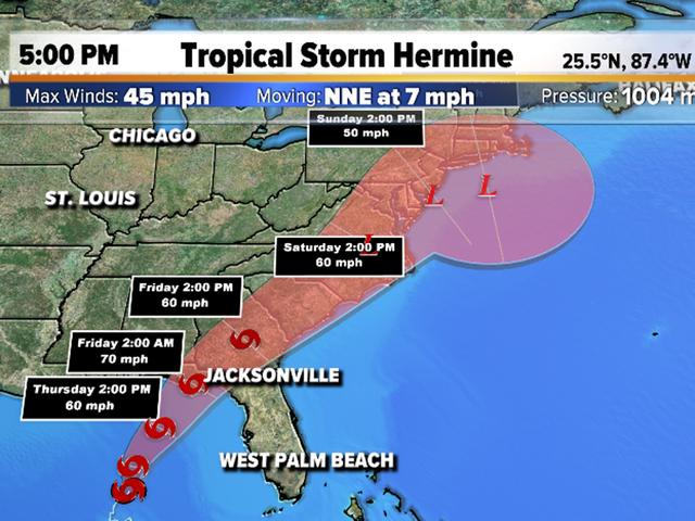 Tropical Storm Hermine heads for Fla. Gulf coast