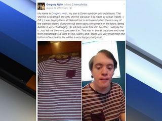 Walmart donates shirts to man with disabilities