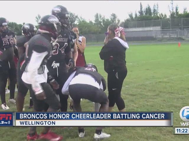 Broncos honor cheerleader battling cancer