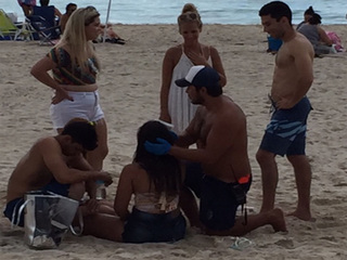 Woman hit on the head by a drone on Miami Beach