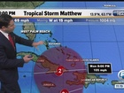 Tropical Storm Matthew continues west