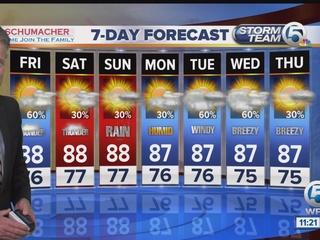 Thunderstorms return through the weekend