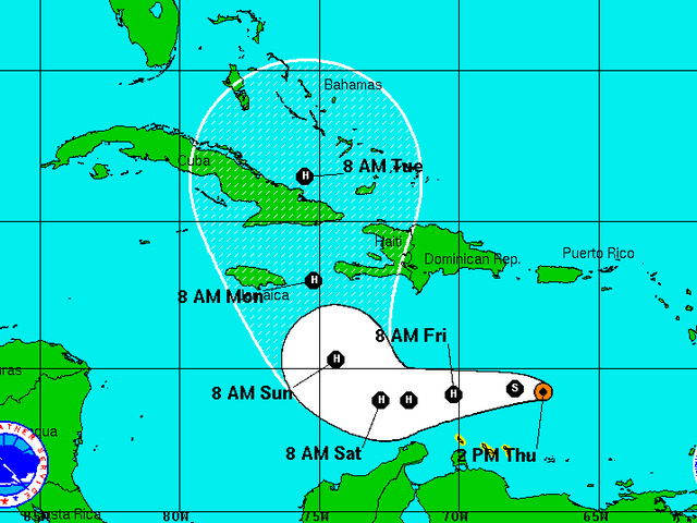 Matthew is now a Hurricane with 75 mph winds