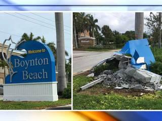 Hit-and-run crash destroys Boynton Beach sign