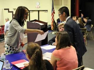 Students take part in mock presidential debate