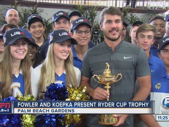 Koepka and Fowler Present Ryder Cup Trophy