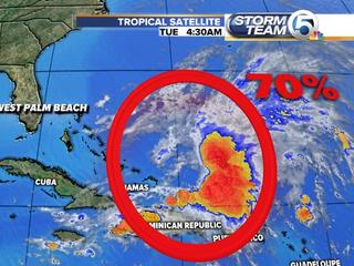 Tropical disturbance forms near Bahamas
