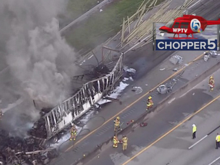PHOTOS: Semi fire on Turnpike in St. Lucie Co.