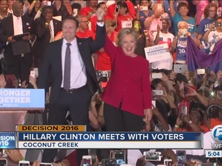 Clinton campaigns in Broward County Tuesday