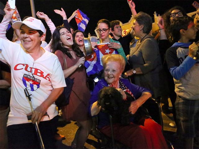 South Florida Cuban Americans celebrate the death of Fidel Castro