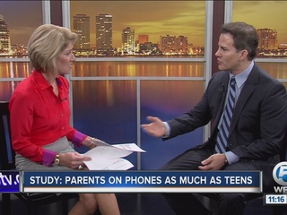 Study: Parents on phones as much as teens