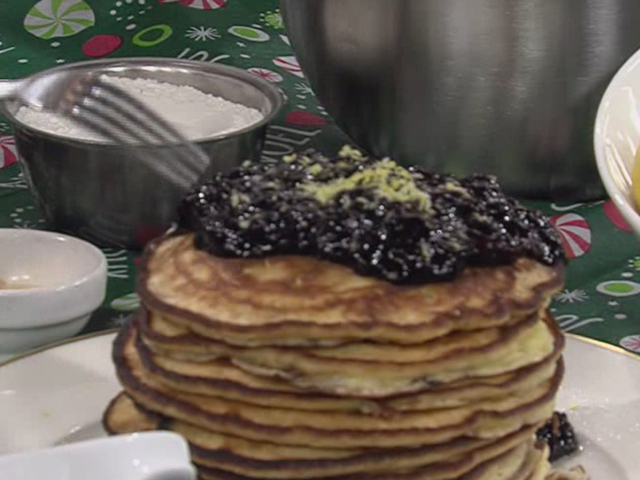 Lemon Ricotta Pancakes With A Blueberry Compote Recipe