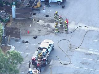 Gas leak closes Gardens Square Plaza