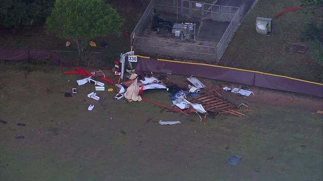 Chopper 5- Storm damage at Dwyer High School