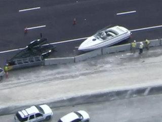 Crash leaves boat on South Florida interstate